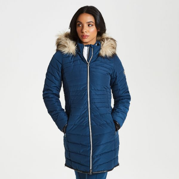 Women's Striking Long Length Quilted Luxe Ski Jacket Blue Wing